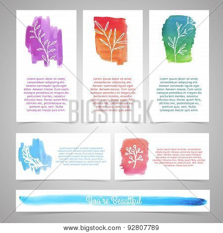 Set of templates for brochures, business cards, cards or invitations. Plant silhouettes on watercolo