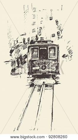 Street with Tram Vintage Engraved Illustration