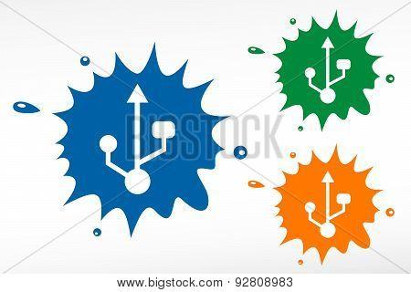 Usb Symbol,color Blob