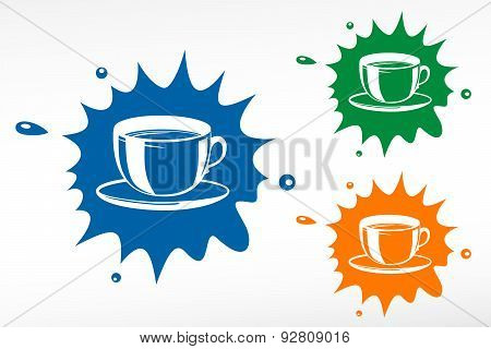 Coffee Cup On Color Blob