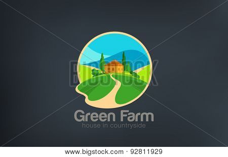 Green Farm Logo Villa ecology design vector template. House in countryside Logotype Real Estate. Realty icon.