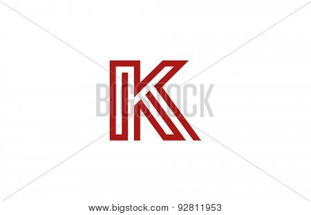 Letter K Logo vector alphabet design element template. ABC concept type as logotype. Typography icon line art