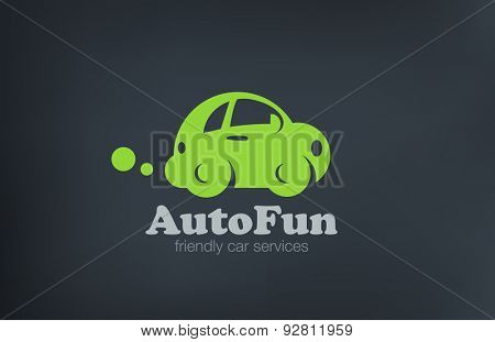 Logo car retro funny design vector template. Auto repair services Logotype. Vintage Vehicle silhouette icon.