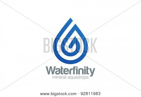 Water drop Logo aqua vector template line art style. Waterdrop Logotype. Droplet spiral shape design element.