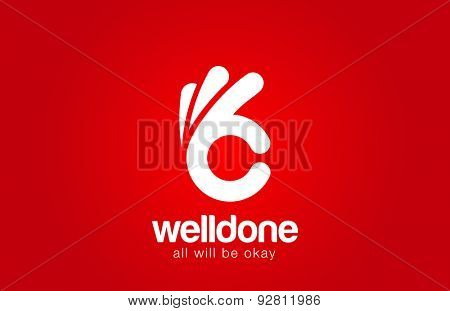 Ok Logo design vector template. Hand Okay symbol icon logotype