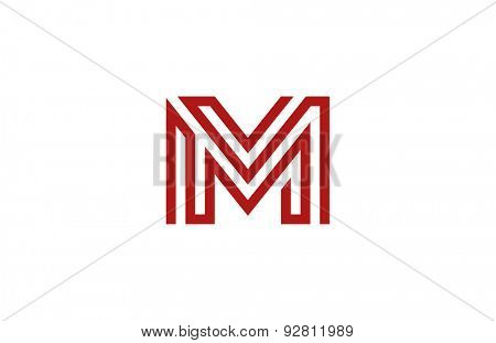 Letter M Logo vector alphabet design element template. ABC concept type as logotype. Typography icon line art