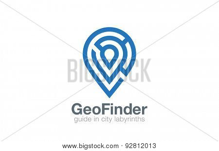 Labyrinth Logo Geo point navigation vector design template. Location Pin map symbol as labirinth logotype. Maze shape geographic icon