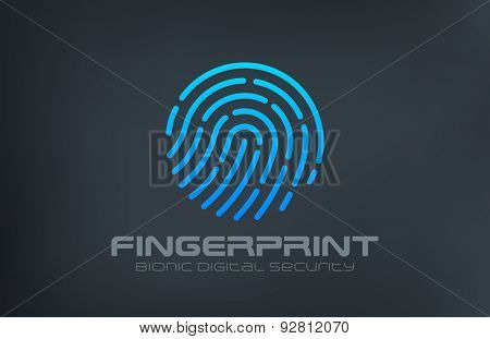 Fingerprint Logo Touch Security design vector template. Biometric Access Scan Application Logotype. App icon concept.