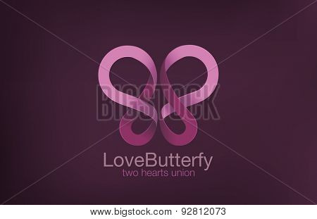 Butterfly Logo two Hearts crossing design vector template. Love concept logotype. Romantic Sex icon.