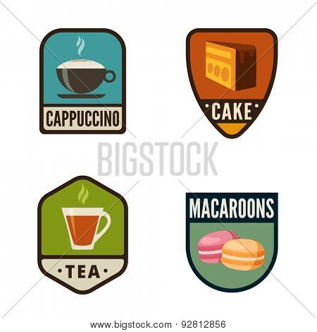 Coffee Candy Shop Vintage Labels vector icon design collection. Shield banner sign. Bakery Logo. Coffee, Cake, Cookies, Cupcake flat icons.