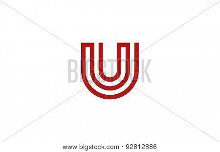 Letter U Logo vector alphabet design element template. ABC concept type as logotype. Typography icon line art