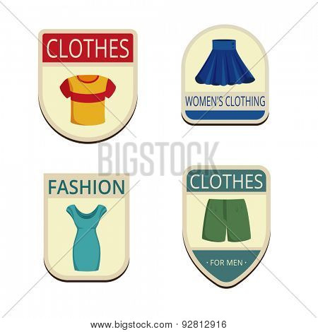 Clothes Vintage Labels vector icon design collection. Shield banner sign. Summer Outerwear Logos. t-shirt, skirt, dress, shorts flat icons.
