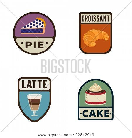 Bakery Vintage Labels vector icon design collection. Shield banner sign. Coffee Shop, Bakery Store Logo. Pie, Croissant, Latte, Cake flat icons.