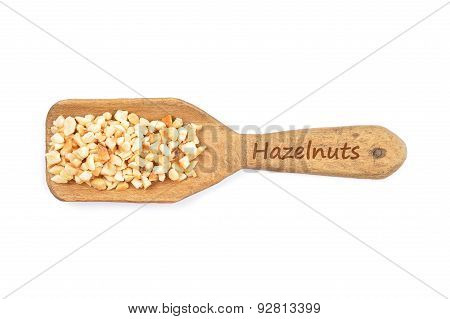 Minced Hazelnuts On Shovel