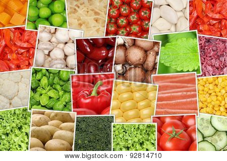 Vegan And Vegetarian Vegetables Background With Tomatoes, Paprika, Lettuce, Herbs