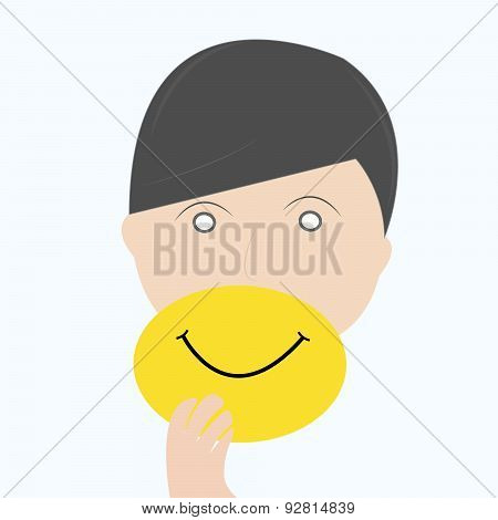 Man Hide Real Face By Holding Smile Mask