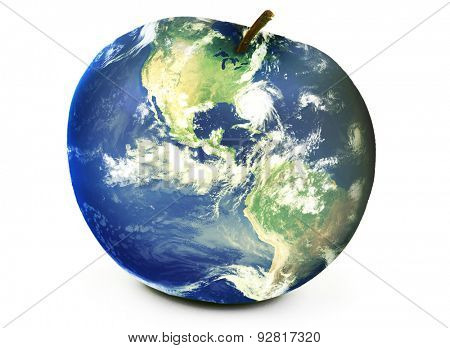 World map apple environment. Elements of this image furnished by NASA