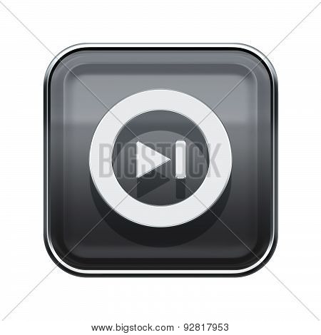 Rewind Forward Icon Glossy Grey, Isolated On White Background