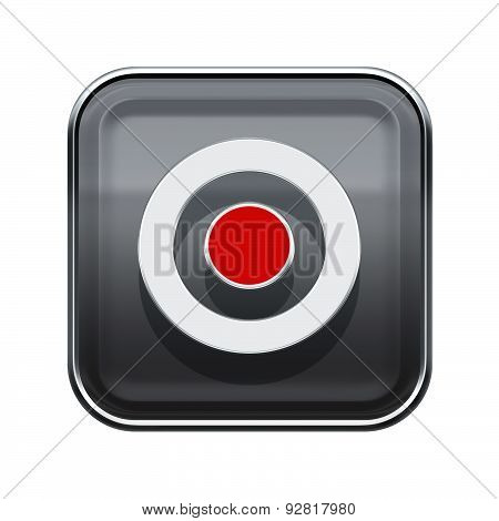 Record Icon Glossy Grey, Isolated On White Background