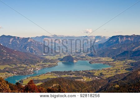 High Up View Of The Alpine Lake Wolfgangsee