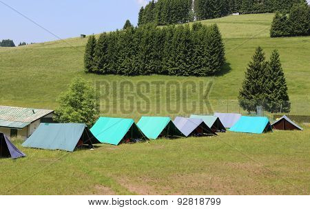 Tents Of A Campsite Of The Boy Scouts In The Mountains