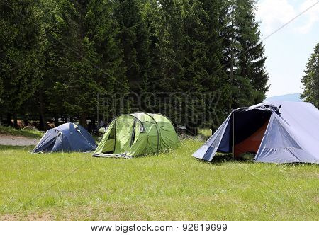 Boy Scout Camp With Tents To Sleep During The Summer Camp