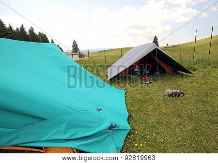 Two Big  Tents In The Summer Camp Of The Boyscout