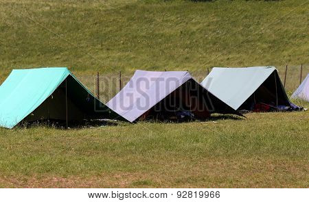Large Tents To Sleep During The Summer Camp Of The Boyscout