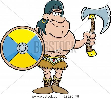 Cartoon barbarian with a shield and an axe.