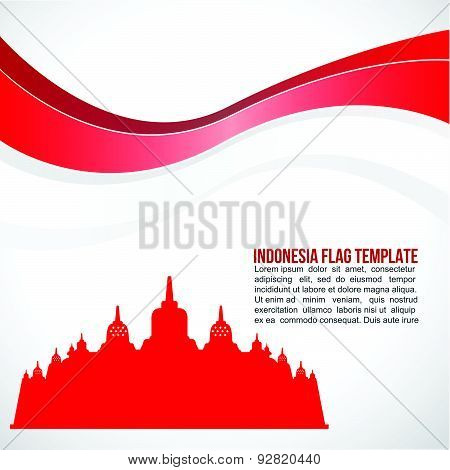 Abstract Indonesia flag wave and Borobudur Temple