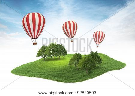 Island Piece Of Land With Forest And Hot Air Balloons Floating In The Air On Sky Background