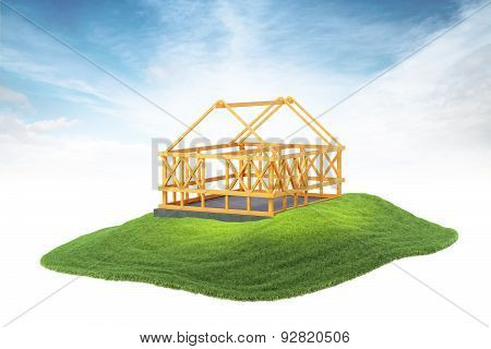 Wooden Framing For Construction Of New House Floating In The Air On Sky Background