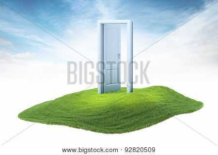 Island With Opened Door Floating In The Air On Sky Background