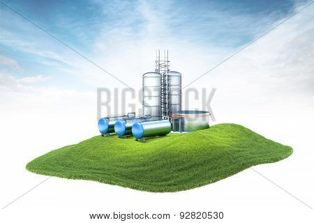 Island With Oil Factory With Storage Floating In The Air