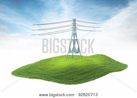 Island With High Voltage Tower Floating In The Air On Sky Background