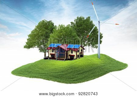 Island With House And Wind Generator Floating In The Air
