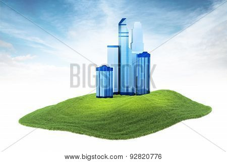 Island With Skyscrapers Floating In The Air On Sky Background