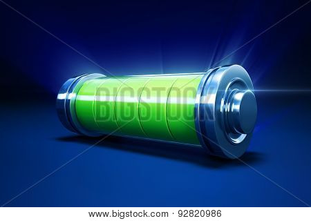 full alkaline battery on blue background