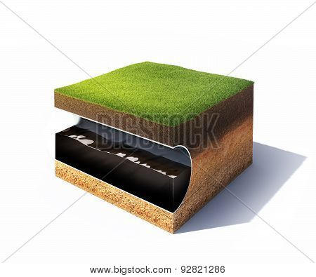 cross section of ground with grass and steel pipe isolated on white