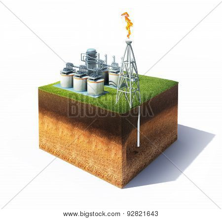 ross section of ground with grass and oil or gas refinery with smokestack emitting a burning flame.