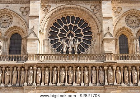Facade Of The Notre Dame De Paris Cathedral