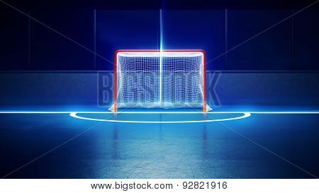 Hockey Ice Rink And Goal