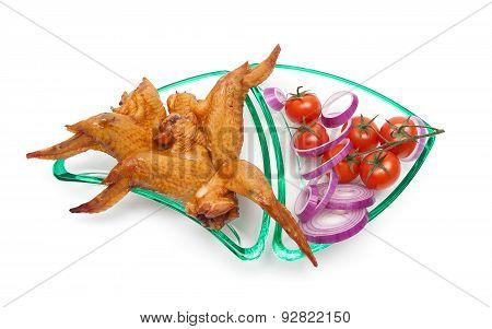 Smoked Chicken Wings, Onion And Cherry Tomatoes Close-up On A White Background