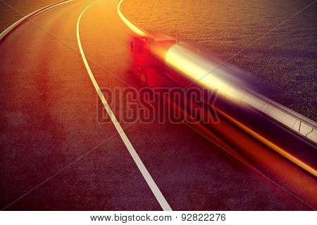 fast truck on asphalt road motion blur