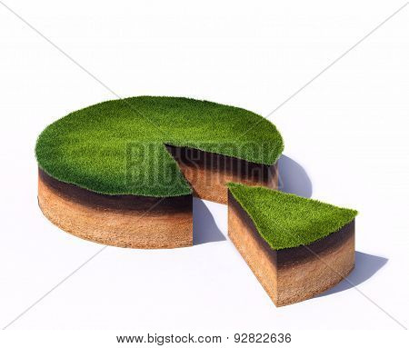 sliced cross section of ground with grass isolated on white background