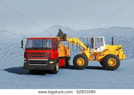 3D Illustration Of Excavator Loading Gravel On Truck