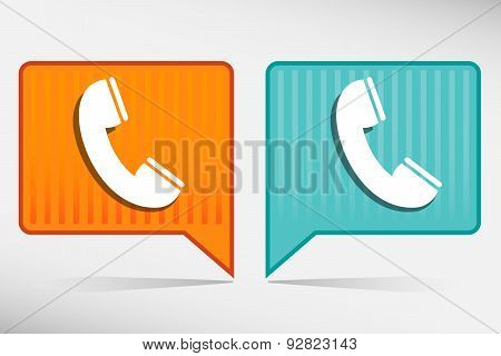 Telephone Receiver Blue And Yellow Icon