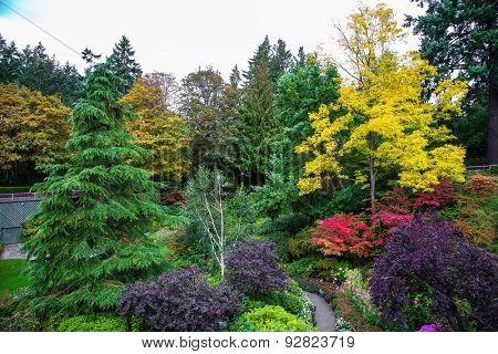 Butchard Garden on Vancouver Island, Canada. Scenic  landscaped park-garden