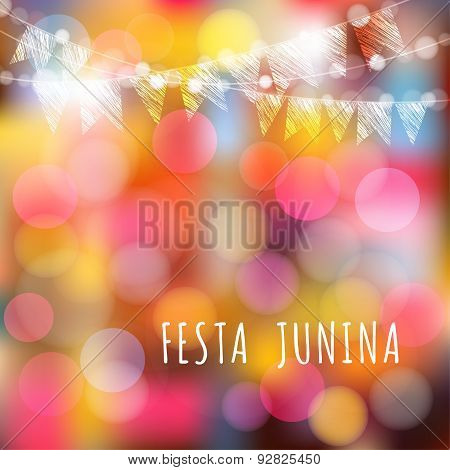Brazilian June Party, Vector Background, Lights And Flags