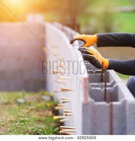Man building a house